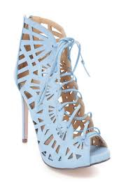 Light Blue High Heels Light Blue Perforated Lace Up Single Sole High Heel Booties Faux