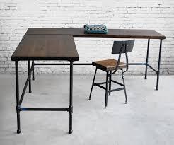 Modern Desk L Custom Desk Made Of Reclaimed Wood And Iron Pipe Legs