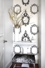 small bathroom wallpaper ideas bathroom unique frame motif wallpaper adds a bold touch with