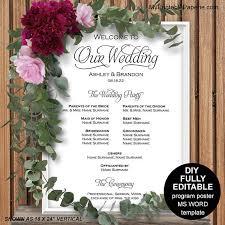 wedding program poster wedding program sign wedding ceremony