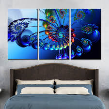 new 3 pieces sets canvas art blue butterfly canvas paintings 3