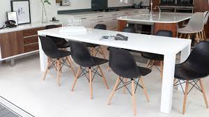 Black White Dining Chairs Fern White Gloss Extending And Eames Style Dining Set