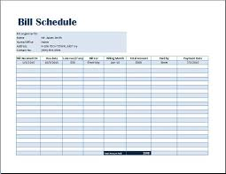 Schedule Excel Templates Bill Payment Schedule Template Word Excel Templates
