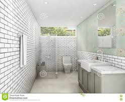 3d rendering white brick style with wallpaper bathroom and