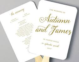 fans for wedding programs wedding program fan etsy