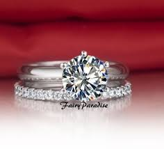 solitaire engagement ring with wedding band 2 pcs wedding ring set 1 5ct lab engagement ring eternity