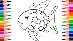 how to draw a rainbow color fish learning coloring pages for