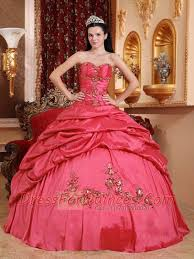 quinceanera dresses coral coral gown taffeta sweetheart floor length cheap