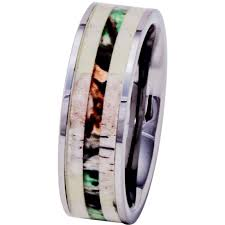 wood inlay wedding band deer antler ring tungsten with camo wood inlay 8mm men s wedding