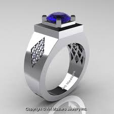 modern wedding rings for men mens modern classic 14k white gold 2 0 ct blue sapphire diamond