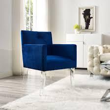 Navy Accent Chair Navy Blue Velvet Acrylic Accent Chair High Quality Acrylic Legs