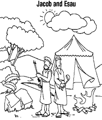 jacob esau camping coloring netart