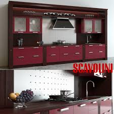 Scavolini Kitchens 3d Scavolini Baccarat Kitchen Red Cgtrader