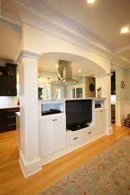Kitchen And Living Room Flooring Ideas by Half Wall Idea Between Kitchen And Living Room Maybe Add Some