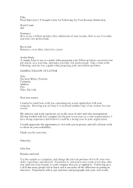 Examples Of Follow Up Letters After Sending Resume by Follow Up Letter After Applying