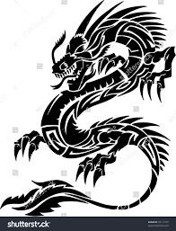tribal chinese dragon tattoos tribal tattoo dragon vector illustration stock vector 18117727