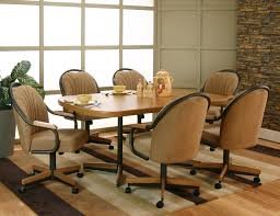 dining room chairs with arms and casters elegant black leather