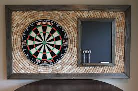 wine cork dartboard backer with scoreboard and dart storage game