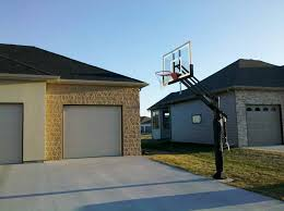 looking at the pro dunk gold basketball goal from an angle towards