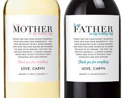 parents wedding gift wedding gifts for parents wine labels wedding wine labels