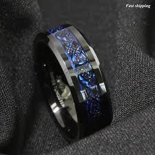 mens celtic wedding rings 8 6mm tungsten carbide ring black celtic blue carbon fibre