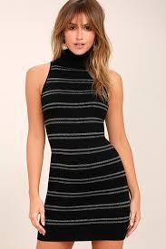 metallic striped sweater dress mock neck sweater dress