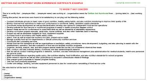 dietitian cover letter dietitian and nutritionist work experience certificate