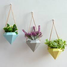 diamond hanging planter planters diamond and grey yellow