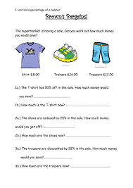 percentage sale worksheet by fairykitty teaching resources tes