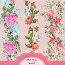 shabby chic floral borders digital clip art vintage flowers