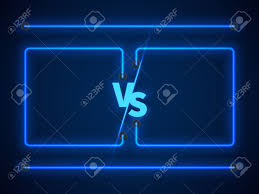 battle vs versus screen with blue neon frames and vs letters competition
