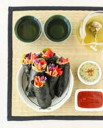 rainbow nori rolls with green tea hummus thirsty for tea in