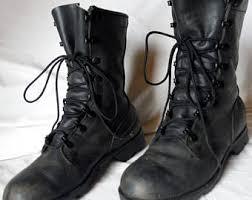 womens size 12 black combat boots vintage boots etsy