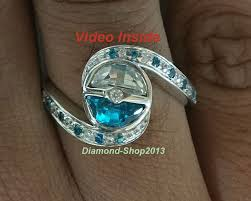 pokeball engagement ring 2 20 ct aqua blue white 925 sterling silver pokeball