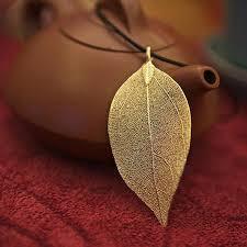 real leaf necklace images Online shop fashion jewelry gold color natural leaves leaf jpg