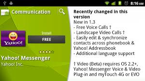 yahoo messenger app for android yahoo messenger app for android updated now includes free voice