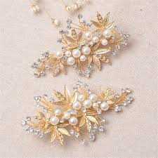hairpin clip aliexpress buy 2pcs set gold leaves wedding bridal hair clip