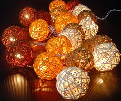 Orange Solar String Lights by Autumn Colored Rattan Ball Light String U2013 Hang Outside Or Inside