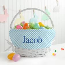 wicker easter baskets fantastic personalized white wicker easter basket with blue liner