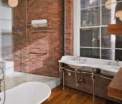 Industrial Style Bathroom Vanity by Industrial Style Bathroom Exposed Plumbing And Brick Walls