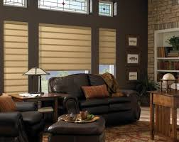 decorating elegant modern window treatment with black cozy couch