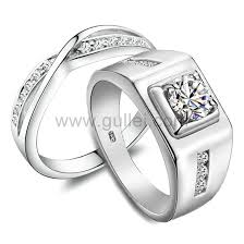 wedding rings with names custom names 0 85 carat synthetic diamond his and hers engagement
