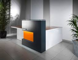 Grey L Shaped Desk by Fancy L Shaped Small Reception Desk With Vibrant Orange For Calming Office Jpg