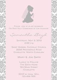 communion invitations rightfully just girl communion invitations in soft pink or
