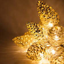battery operated led iridescent pinecone string lights 10 warm