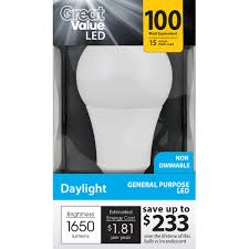 Led Light Bulb Deals by Great Value Led Light Bulb 15w 100w Equivalent A19 E26