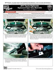 11 up toyota highlander grille installation manual carid