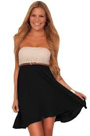 strapless crochet lace fit n flare chiffon double layered cute