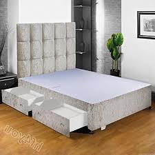 Divan Bed Frames Hf4you Crushed Velvet Fabric Divan Bed Base 2 Drawers Same Side
