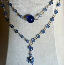blue glass necklace vintage images Beads cloud conrad sterling jpg